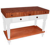 Rustica Kitchen Island with 4'' Thick Cherry End Grain Top, Alabaster, 48'' W, 2 Drawers & Shelf