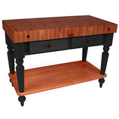 Cucina Rustica Kitchen Island with 4'' Thick Cherry End Grain Top, Black, 48'' W, 2 Drawers & Shelf