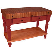 Rustica Kitchen Island with 4'' Thick Cherry End Grain Top, Barn Red, 48'' W, 2 Drawers & Shelf