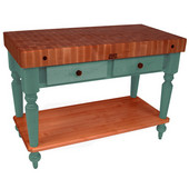 Rustica Kitchen Island with 4'' Thick Cherry End Grain Top, Basil, 48'' W, 2 Drawers & Shelf