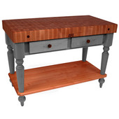 Rustica Kitchen Island with 4'' Thick Cherry End Grain Top, Slate Gray, 48'' W, 2 Drawers & Shelf