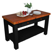 Grazzi Kitchen Island With Black Base, 60'' W x 28'' D x 35'' H, Cherry End Grain Top