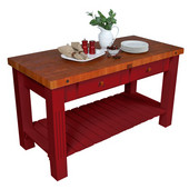 Grazzi Kitchen Island With Barn Red Base, 60'' W x 28'' D x 35'' H, Cherry End Grain Top
