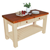 Grazzi Kitchen Island with Natural Base, 60'' W x 28'' D x 35'' H, Cherry End Grain Top