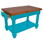 Cherry Tuscan Isle Boos Block Kitchen Island, 54'' W or 72'' W x 32'' D x 36''H, Caribbean Blue