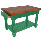 Cherry Tuscan Isle Boos Block Kitchen Island, 54'' W or 72'' W x 32'' D x 36''H, Clover Green
