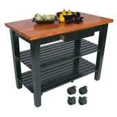 Le Classique Work Table, Varnique, with Casters and 2 Shelves, 60'' W x 30'' D x 35''H