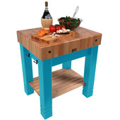 American Heritage Butlers Block, 30'' x 24'' x 5'' thick top, Caribbean Blue