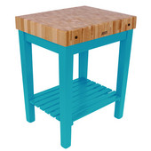 Chef Block with Shelf, 30'' W x 24'' D x 36''H, 4'' Thick, Caribbean Blue