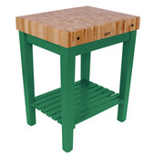 Chef Block with Shelf, 30'' W x 24'' D x 36''H, 4'' Thick, Clover Green