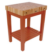 Chef Block with Shelf, 30'' W x 24'' D x 36''H, 4'' Thick, Spicy Latte
