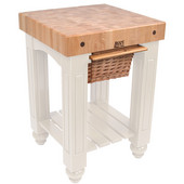 Gathering Block Kitchen Cart with 4'' Thick End Grain Maple Top and Pull Out Wicker Basket, 25'' W x 24'' D x 36'' H, Alabaster