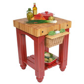 Gathering Block Kitchen Cart with 4'' Thick End Grain Maple Top and Pull Out Wicker Basket, 25'' W x 24'' D x 36'' H, Barn Red