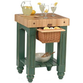 Gathering Block Kitchen Cart with 4'' Thick End Grain Maple Top and Pull Out Wicker Basket, 25'' W x 24'' D x 36'' H, Basil