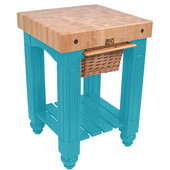 Gathering Block Kitchen Cart with 4'' Thick End Grain Maple Top and Pull Out Wicker Basket, 25'' W x 24'' D x 36'' H, Caribbean Blue