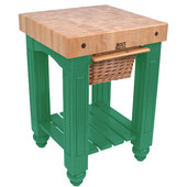 Gathering Block Kitchen Cart with 4'' Thick End Grain Maple Top and Pull Out Wicker Basket, 25'' W x 24'' D x 36'' H, Clover Green