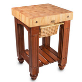 Gathering Block Kitchen Cart with 4'' Thick End Grain Maple Top and Pull Out Wicker Basket, 25'' W x 24'' D x 36'' H, Cherry Stain