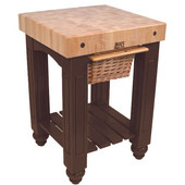 Gathering Block Kitchen Cart with 4'' Thick End Grain Maple Top and Pull Out Wicker Basket, 25'' W x 24'' D x 36'' H, French Roast