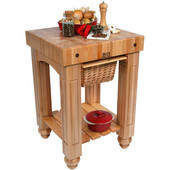 Gathering Block Kitchen Cart with 4'' Thick End Grain Maple Top and Pull Out Wicker Basket, 25'' W x 24'' D x 36'' H, Natural