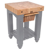 Gathering Block Kitchen Cart with 4'' Thick End Grain Maple Top and Pull Out Wicker Basket, 25'' W x 24'' D x 36'' H, Slate Gray