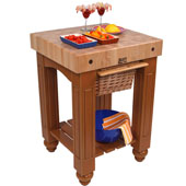 Gathering Block Kitchen Cart with 4'' Thick End Grain Maple Top and Pull Out Wicker Basket, 25'' W x 24'' D x 36'' H, Spicy Latte