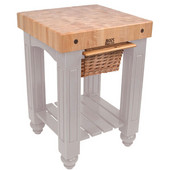 Gathering Block Kitchen Cart with 4'' Thick End Grain Maple Top and Pull Out Wicker Basket, 25'' W x 24'' D x 36'' H, Useful Gray