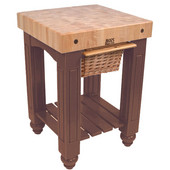Gathering Block Kitchen Cart with 4'' Thick End Grain Maple Top and Pull Out Wicker Basket, 25'' W x 24'' D x 36'' H, Walnut Stain
