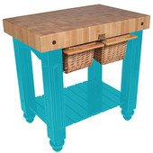 Gathering Block II Kitchen Island with 4'' Thick End Grain Maple Top and 2 Pull Out Wicker Baskets, 36'' W x 24'' D x 36''H, Caribbean Blue