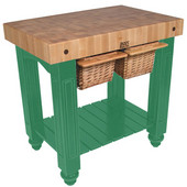 Gathering Block II Kitchen Island with 4'' Thick End Grain Maple Top and 2 Pull Out Wicker Baskets, 36'' W x 24'' D x 36''H, Clover Green