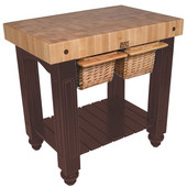 Gathering Block II Kitchen Island with 4'' Thick End Grain Maple Top and 2 Pull Out Wicker Baskets, 36'' W x 24'' D x 36''H, French Roast