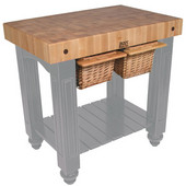 Gathering Block II Kitchen Island with 4'' Thick End Grain Maple Top and 2 Pull Out Wicker Baskets, 36'' W x 24'' D x 36''H, Slate Gray