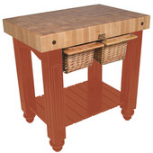 Gathering Block II Kitchen Island with 4'' Thick End Grain Maple Top and 2 Pull Out Wicker Baskets, 36'' W x 24'' D x 36''H, Spicy Latte