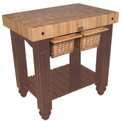 Gathering Block II Kitchen Island with 4'' Thick End Grain Maple Top and 2 Pull Out Wicker Baskets, 36'' W x 24'' D x 36''H, Walnut Stain