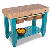 Gathering Block III Kitchen Island with 4'' Thick End Grain Maple Top and 3 Pull Out Wicker Baskets, 48'' W x 24'' D x 36''H, Caribbean Blue
