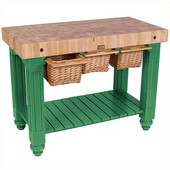 Gathering Block III Kitchen Island with 4'' Thick End Grain Maple Top and 3 Pull Out Wicker Baskets, 48'' W x 24'' D x 36''H, Clover Green