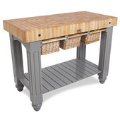 Gathering Block III Kitchen Island with 4'' Thick End Grain Maple Top and 3 Pull Out Wicker Baskets, 48'' W x 24'' D x 36''H, Slate Gray
