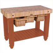 Gathering Block III Kitchen Island with 4'' Thick End Grain Maple Top and 3 Pull Out Wicker Baskets, 48'' W x 24'' D x 36''H, Spicy Latte