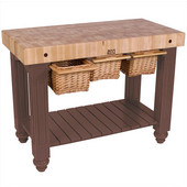 Gathering Block III Kitchen Island with 4'' Thick End Grain Maple Top and 3 Pull Out Wicker Baskets, 48'' W x 24'' D x 36''H, Walnut Stain