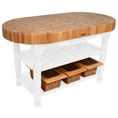 Kitchen Harvest Table with 4'' Thick End Grain Maple Oval Top & 3 Wicker Baskets, 60'' W x 30'' D x 4''H, Alabaster
