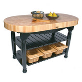 Kitchen Harvest Table with 4'' Thick End Grain Maple Oval Top & 3 Wicker Baskets, 60'' W x 30'' D x 4''H, Black