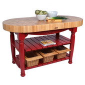 Kitchen Harvest Table with 4'' Thick End Grain Maple Oval Top & 3 Wicker Baskets, 60'' W x 30'' D x 4''H, Barn Red