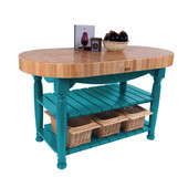 Kitchen Harvest Table with 4'' Thick End Grain Maple Oval Top & 3 Wicker Baskets, 60'' W x 30'' D x 4''H, Caribbean Blue