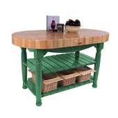 Kitchen Harvest Table with 4'' Thick End Grain Maple Oval Top & 3 Wicker Baskets, 60'' W x 30'' D x 4''H, Clover Green