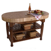 Kitchen Harvest Table with 4'' Thick End Grain Maple Oval Top & 3 Wicker Baskets, 60'' W x 30'' D x 4''H, Cherry Stain