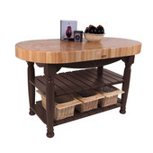 Kitchen Harvest Table with 4'' Thick End Grain Maple Oval Top & 3 Wicker Baskets, 60'' W x 30'' D x 4''H, French Roast