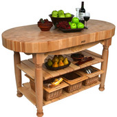 Kitchen Harvest Table with 4'' Thick End Grain Maple Oval Top & 3 Wicker Baskets, 60'' W x 30'' D x 4''H, Natural Maple