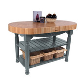 Kitchen Harvest Table with 4'' Thick End Grain Maple Oval Top & 3 Wicker Baskets, 60'' W x 30'' D x 4''H, Slate Gray