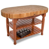 Kitchen Harvest Table with 4'' Thick End Grain Maple Oval Top & 3 Wicker Baskets, 60'' W x 30'' D x 4''H, Spicy Latte