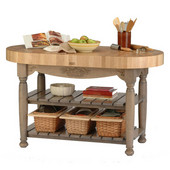 Kitchen Harvest Table with 4'' Thick End Grain Maple Oval Top & 3 Wicker Baskets, 60'' W x 30'' D x 4''H, Useful Gray Stain