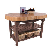 Kitchen Harvest Table with 4'' Thick End Grain Maple Oval Top & 3 Wicker Baskets, 60'' W x 30'' D x 4''H, Walnut Stain